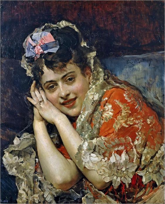 Raimundo de Madrazo y Garreta - Model Aline Masson with a White Mantilla [c.1875]