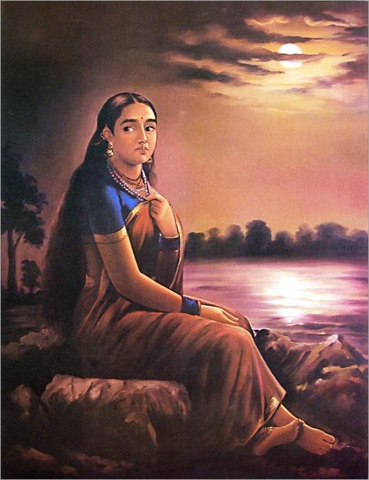raja ravi verma lady in moonlight