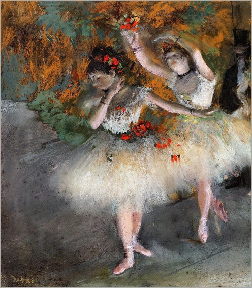 two-dancers-entering-the-stage_Edgar Degas