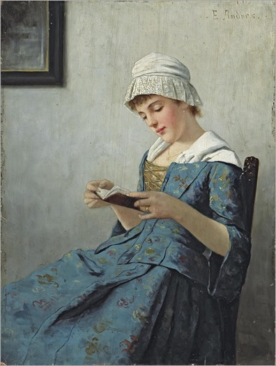 A quiet read by Ernst Anders (German, 1845-1911)