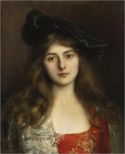 Albert Lynch (Peruvian artist, 1851-1912) Portrait-of-a-Young-Woman