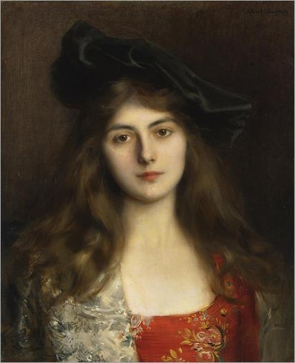 Albert Lynch (Peruvian artist, 1851-1912) Portrait-of-a-Young-Woman