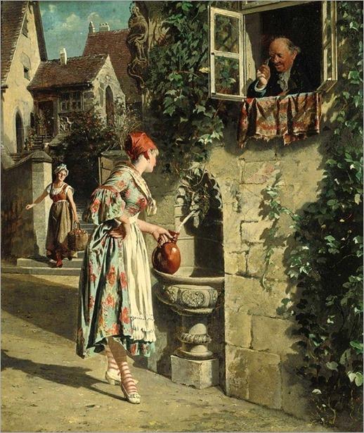 beauty at the well by Johann Hamza