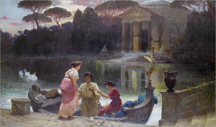 Ettore Forti (active 1880 - 1920) - Evening at the temple