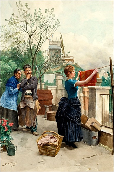 Jules Worms (1832-1924) laundry day, Montmarte