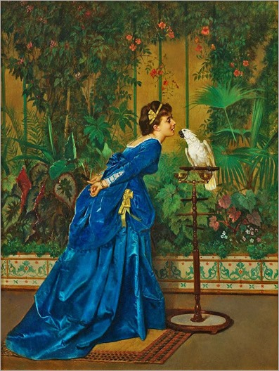 lady with parrot - Auguste Toulmouche (21 de setembro de 1829 - 16 de outubro de 1890)