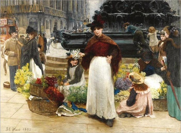 London Flower Girls, Piccadilly Circus (1895)_Benjamin Evans Ward