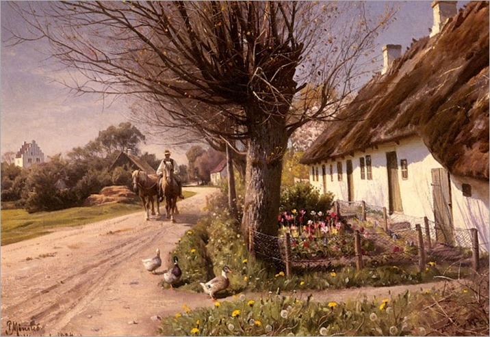 Peder Mork Monsted - Cottages At Hjornbaek, 1924
