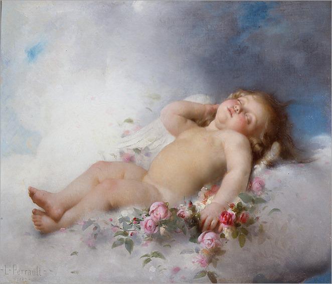 sleeping putto - Leon-Jean-Basile Perrault - 1882