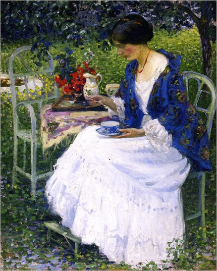 Tea in the Garden - 1910 by Richard Edward Miller (american painter)