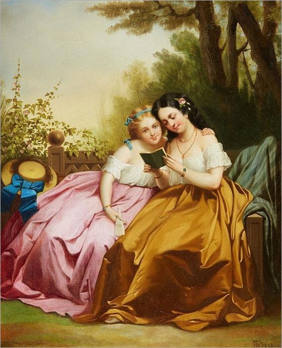 Theodor Hosemann (1807-1875), Two Girls Reading