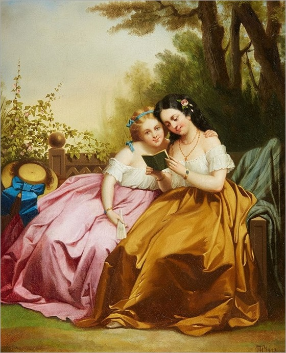 Theodor Hosemann (1807-1875), Two Girls Reading