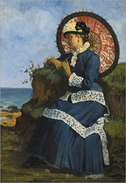 AN ELEGANT LADY BY THE SHORE WITH A PINK PARASOL-Albert-Auguste Fourié