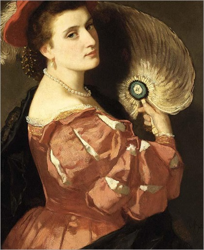 Carl Ludwig Friedrich Becker (1820 - 1900) - A portrait of an elegant lady holding a fan