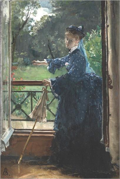 femme au balcon_Alfred Stevens