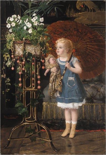 JAN FRANÇOIS VERHAS (BELGIAN, 1834-1896) JEUNE FILLE A LA POUPEE ET OMBRELLE