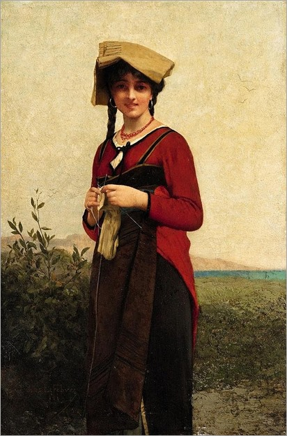Jules-Joseph Lefebvre (1836-1911, french), An Italian Lady Knitting