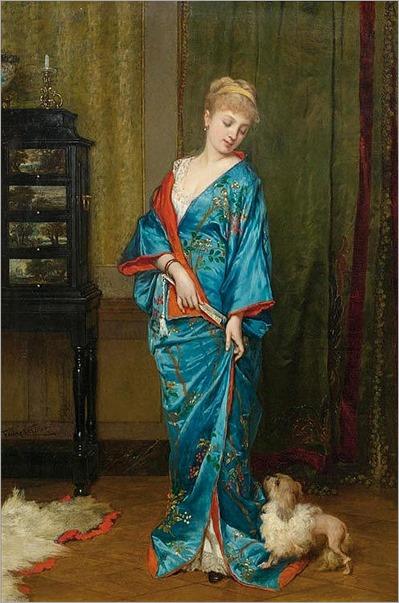 lady in a kimono by Frans Verhas , Belgian 1827-1897