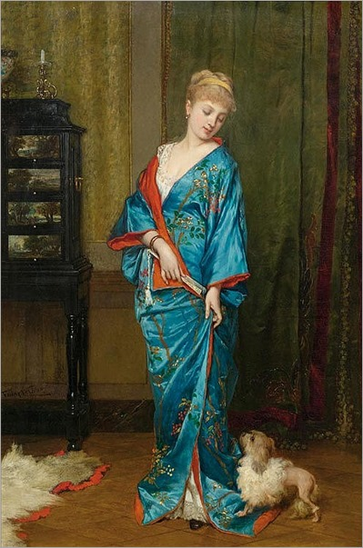 lady in a kimono by Frans Verhas , Belgian 1827-1897