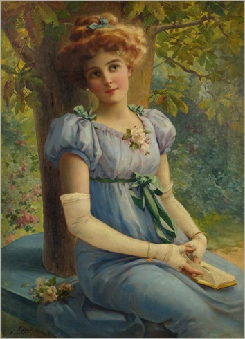 Émile_Vernon (french, 1872-1919)_A_sweet_glance_740x1024