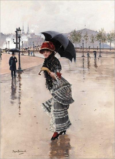 Parisienne un jour de pluie, place de la Concorde-Jean Béraud