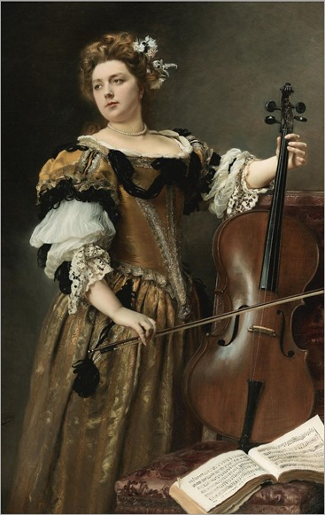 The Cello Player. Gustave Jean Jacquet (French, 1846-1909)