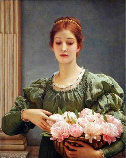 Charles Edward Perugini (British, 1839 - 1918)-Peonies 1887