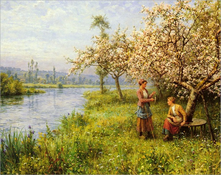 country-women-after-fishing-on-a-summers-day-by-louis-aston-knight