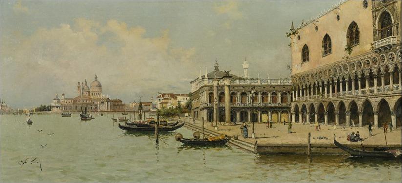 GONDOLAS BY THE DOGE'S PALACE_Antonio Maria de Reyna