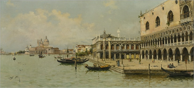 GONDOLAS BY THE DOGE'S PALACE_Antonio Maria de Reyna