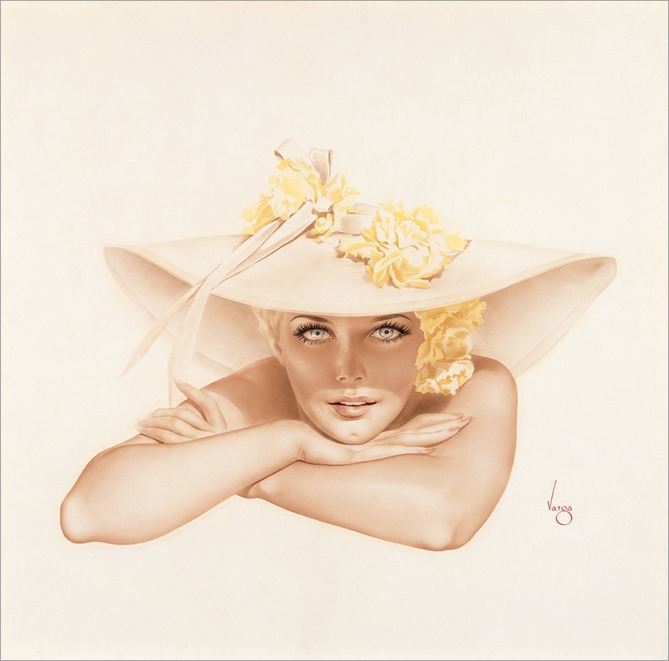 Kim Novak in Broad Brimmed Hat Resting Chin on Hand, c. 1950-Alberto Vargas