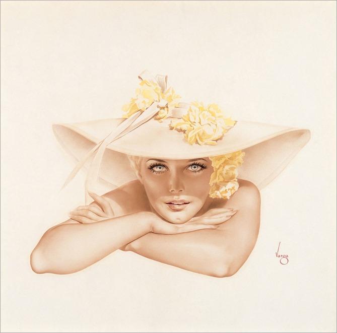 Kim Novak in Broad Brimmed Hat Resting Chin on Hand, c. 1950-Alberto Vargas
