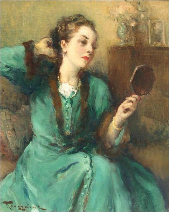 Lady in Green Dress with Mirror - Fernand Toussaint