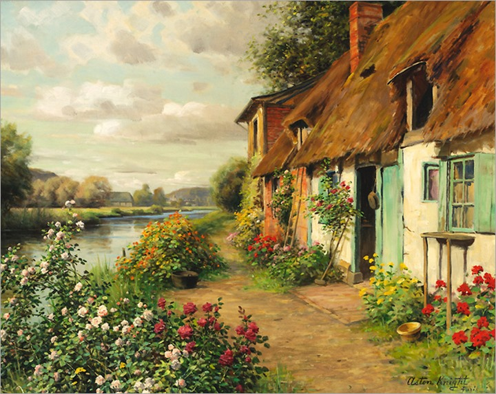 Louis Aston Knight - the blue cottage (A Casa Azul)