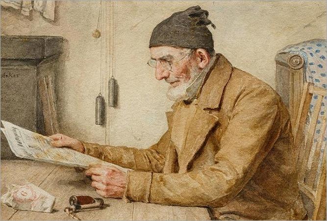 Älterer Mann beim Zeitunglesen_Albert Anker