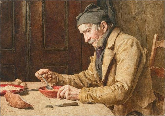 Mann beim Suppe essen_Albert Anker