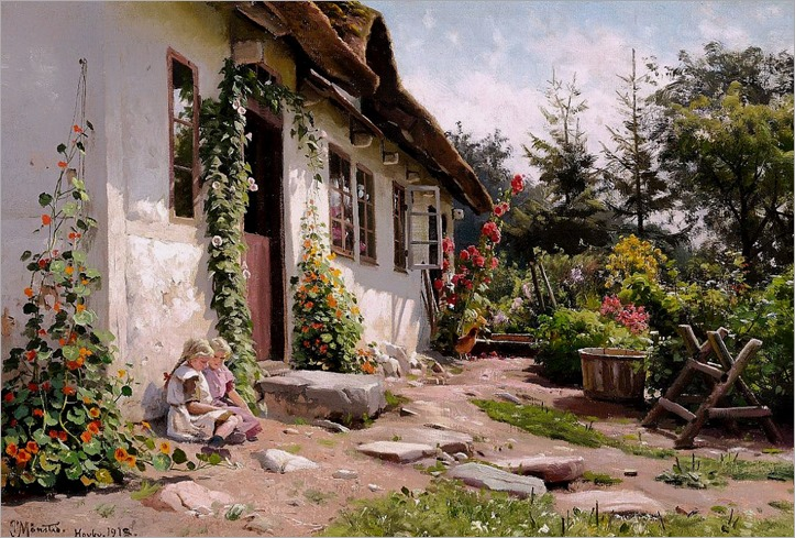 Peder Mork Monsted - Little girls in the sunshine in a blooming garden behind a farm
