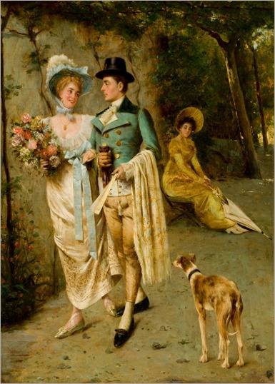 Pompeo Massani (italian -1850 - 1920) - An afternoon stroll