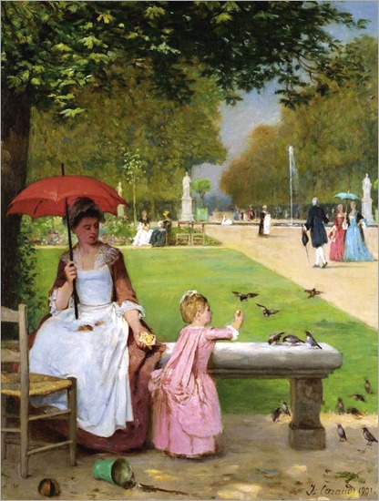 1901-FEEDING THE BIRDS, JARDIN DES TUILERIES-Joseph Caraud