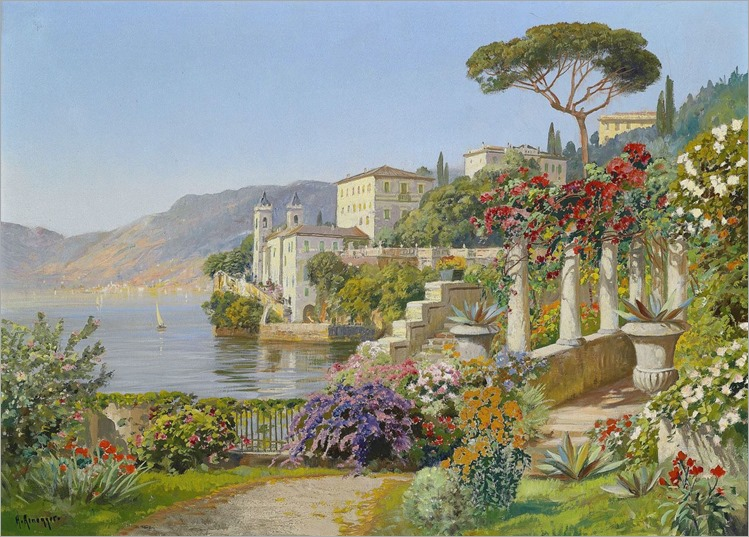 Alois Arnegger (1879-1963) View of a Lake in the South