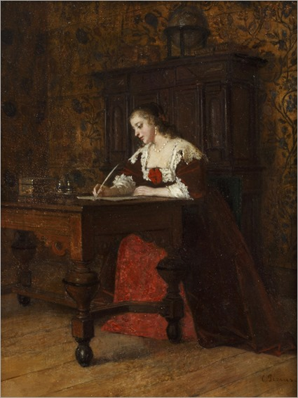 Charles François Pecrus (França, 1826 - 1907) - Lady writing a letter