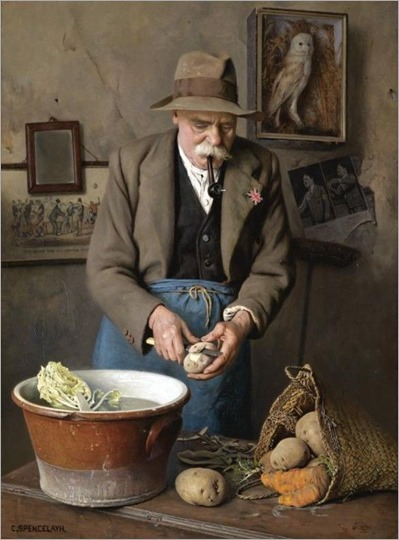 Charles Spencelayh (British, 1865-1958) -Dig for Victory - The Wise Eat more Potatoes