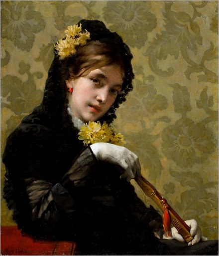 Eugene Vincent Vidal (1850-1908, french)-portrait of a woman with a fan