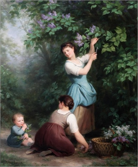 FRITZ ZUBER-BUHLER (SWISS 1822-1896) MOTHER AND CHILDREN PICKING FLOWERS