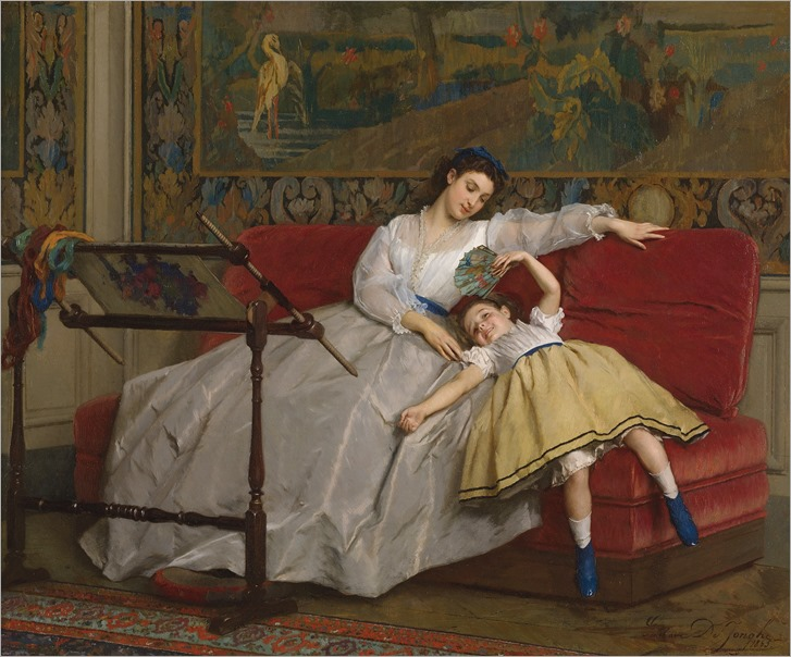 Gustave Léonhard de Jonghe (belgian, 1829-1893)-Mother With Her Young Daughter