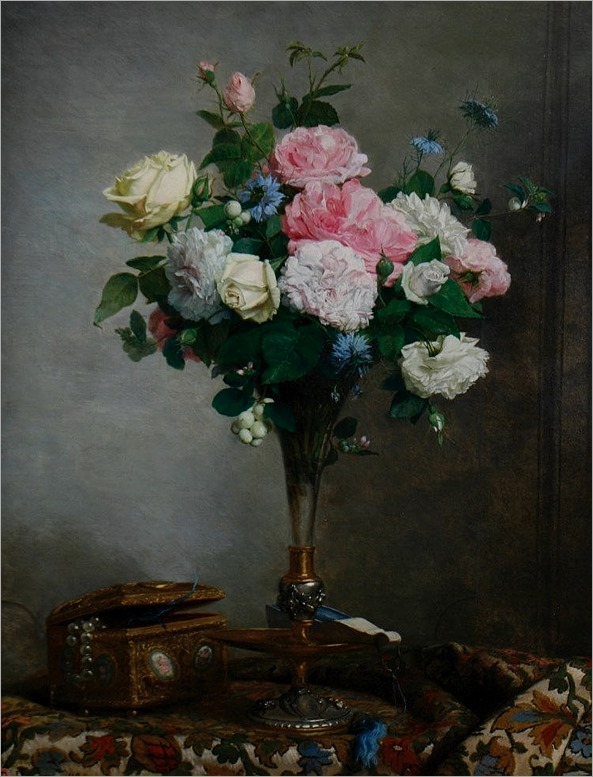 Paul C. Jance, 1840 - 1915 Still life of roses