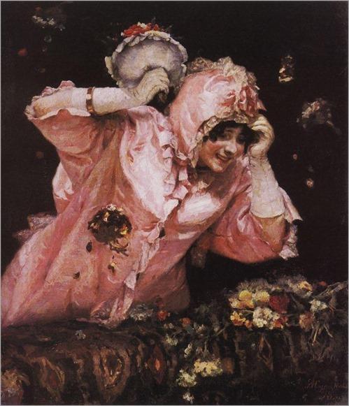 A roman carnival scene by Vasili Ivanovich Surikov - Date unknown