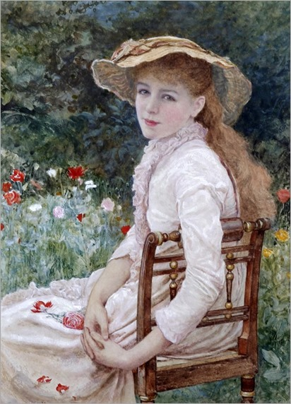 Edward Killingworth Johnson (1825 -1896) - Young lady seated in a garden