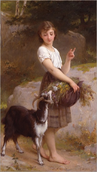 EmileMunier-1890-04-young-girl-with-goat-and-flowers