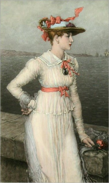 Forget Me Not, engraved by Thomas G Appleton after a picture by George Henry Boughton